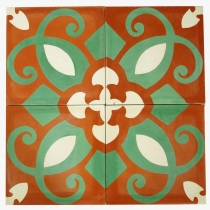 Cement tile set, ornament of 4 tiles, red - Design 3