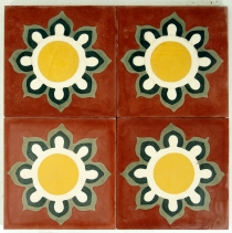 Cement tile set, ornament of 4 tiles, red - Design 1