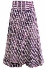 Ethno divided skirt, boho maxi skirt, summer skirt - blackberry
