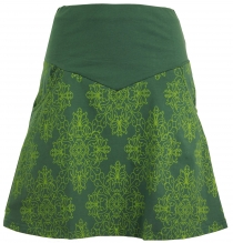 Mini skirt, Boho Plate Skirt Organic - olive green/lemon
