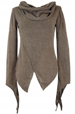 Pixishirt with shawl collar cotton knit sweater - cappuccino