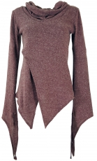 Pixishirt with shawl collar cotton knit pullover - antique pink