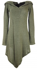 Pixikleid in wickellook with hood, fine knit elf pullover - khaki