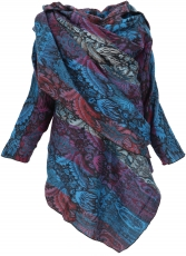 Wide cape, convertible wrap jacket Boho chic - blue/purple/red