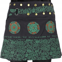 Wrap skirt, short skirt, cacheur, mandala patchwork skirt - black