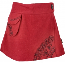 Goa wrap skirt, embroidered cacheur of wool felt - red