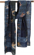 Embroidered indian cotton scarf, batik scarf - blue