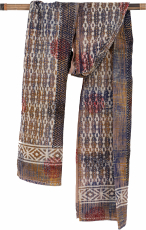 Embroidered indian cotton scarf, batik scarf - brown
