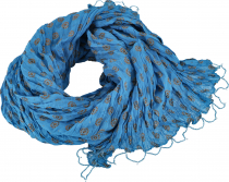 Indian cotton cloth, light scarf with gold print - blue/brown