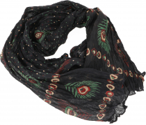 Indian cotton scarf, light boho scarf - black