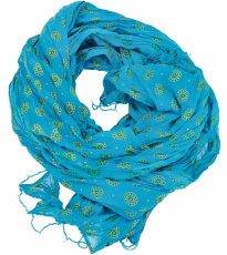 Indian cotton cloth, light scarf with gold print - blue/green
