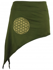 Pixi Tip Skirt with golden `Flower of Life` Mandala - olive