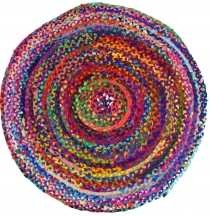 Round upcyceling patchwork carpet, patchwork carpet