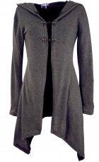 Long cardigan, knitted coat with wide hood - granite grey