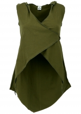 Diaper top with pointed hood, Psytrance Festival Pixi Top - olive..