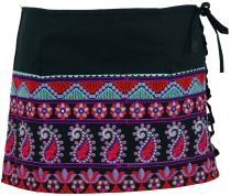 Ethno mini skirt, embroidered boho skirt, hip flatterer - black/b..