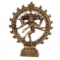 Brass figure, statue Shiva in a fire wreath 17 cm - motive 11