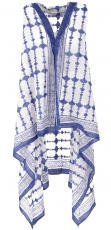 Boho caftan coat, long open poncho, sarong jacket - white/blue