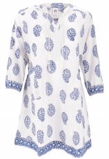 Boho tunic, Indian blouse tunic, mini dress - white/blue