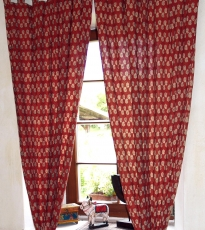 Curtain, curtain (1 pair of curtains) with loops, hand-printed - ..