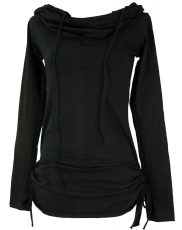 Longshirt, mini dress with wide shawl hood - black