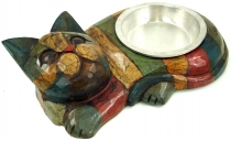 Cat food bowl `Happy Cat` - coloured stripes