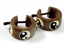 Creole made of wood, Ethno wooden earring - Ying Yang