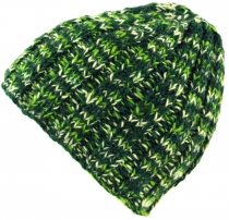 Beanie cap, warm knitted cap - green