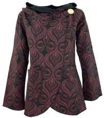 Cape Boho wrap jacket - black/bordeaux red