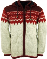 Wool cardigan with nordic pattern, cardigan red - model 8
