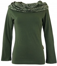 Hooded shirt, Boho shirt with printed shawl hood - olive