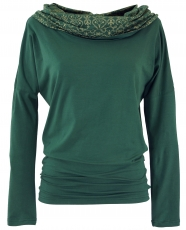 Loose longshirt, boho shirt shawl hood - emerald green