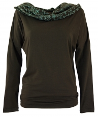 Loose longshirt, boho shirt shawl hood - coffee