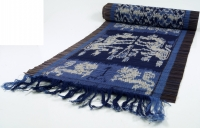 Ikat table runner, wall hanging - 33*200 cm blue