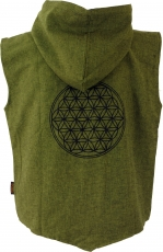 Goaweste, Festival Men`s vest with `Flower of Life` print - green