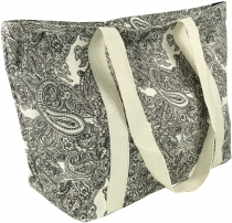 Shopping bag, handbag, shopper with paisley print - white/black P..