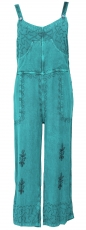 Dungarees, boho pants, embroidered overall - aqua