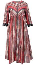Summer dress with 3/4 sleeves, striped retro maxi dress - red
