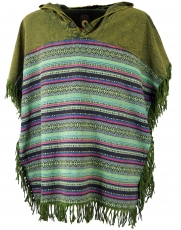 Andean poncho with hood and fringes, Boho, Ethno poncho - olive