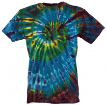Batik T-Shirt, Men Short Sleeve Tie Dye Shirt - blue/brown spiral