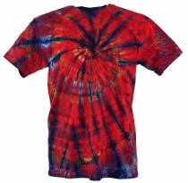 Batik T-Shirt, Men Short Sleeve Tie Dye Shirt - dark red spiral