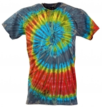 Batik T-Shirt, Men Short Sleeve Tie Dye Shirt - grey/red spiral