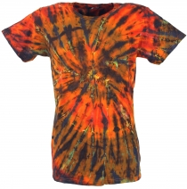 Batik T-Shirt, Men Short Sleeve Tie Dye Shirt - orange/coloured s..