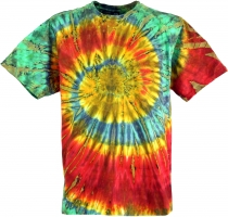 Batik T-Shirt, Men Short Sleeve Tie Dye Shirt - red/green spiral