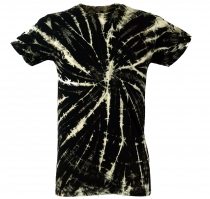Batik T-Shirt, Men Short Sleeve Tie Dye Shirt - black