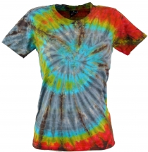 Batik T-Shirt for ladies, Tie Dye Goa Shirt - grey/blue