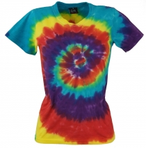 Batik T-Shirt for Women, Tie Dye Goa Shirt Rainbow - blue/red