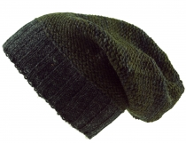 Beanie cap, knitted cap from Nepal - olive green/grey