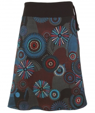 Embroidered knee length skirt, boho chic, retro mandala - grey