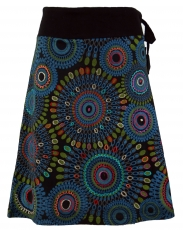 Embroidered knee length skirt, boho chic, retro mandala - black